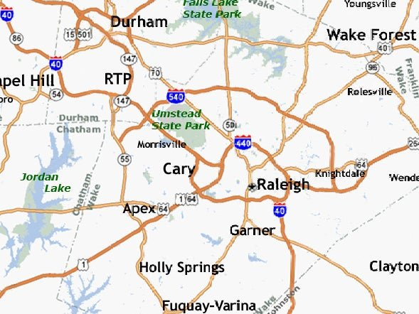 map of raleigh durham area
